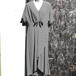Lush Pinstripe Front-tie Crossover Maxi Dress